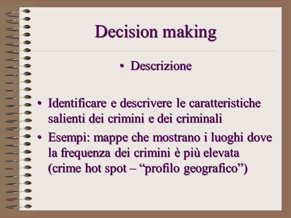 Decision making DescrizioneDescrizione Identificare e descrivere le caratteristiche salienti dei crimini e dei criminaliIdentificare e descrivere le c