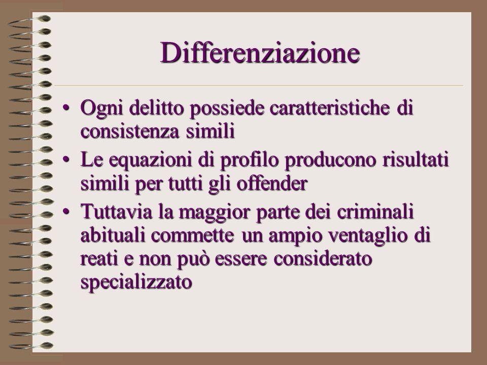 Differenziazione Ogni delitto possiede caratteristiche di consistenza similiOgni delitto possiede caratteristiche di consistenza simili Le equazioni d
