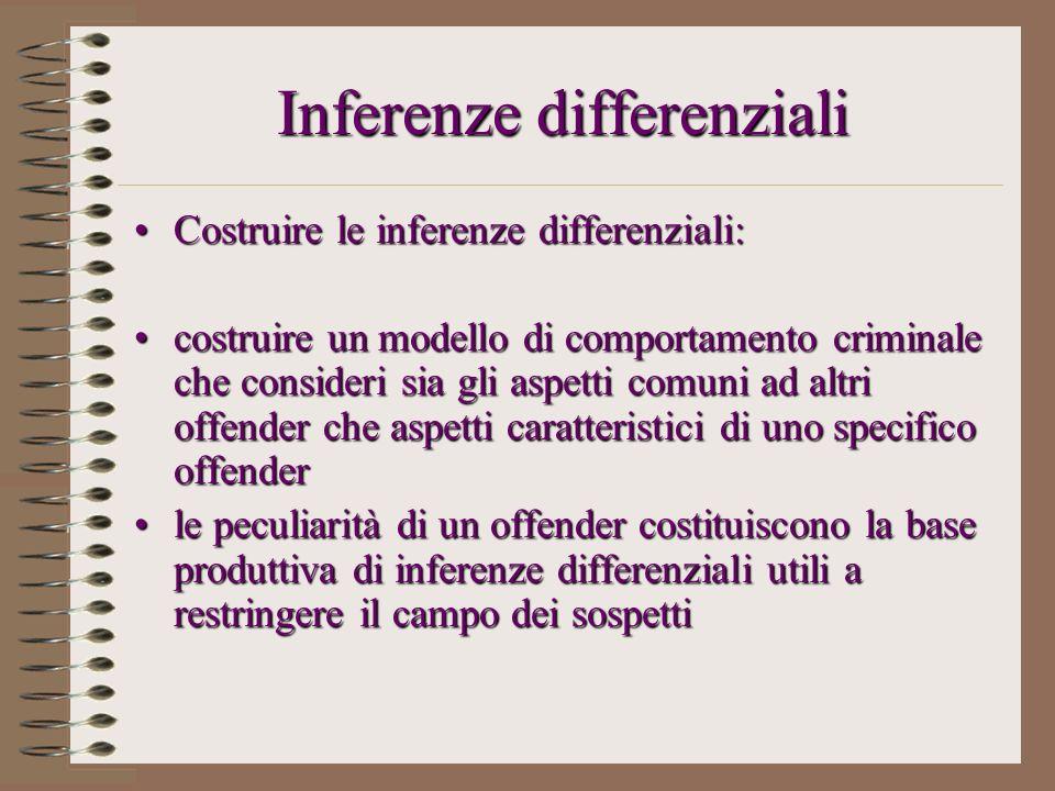 Inferenze differenziali Costruire le inferenze differenziali:Costruire le inferenze differenziali: costruire un modello di comportamento criminale che