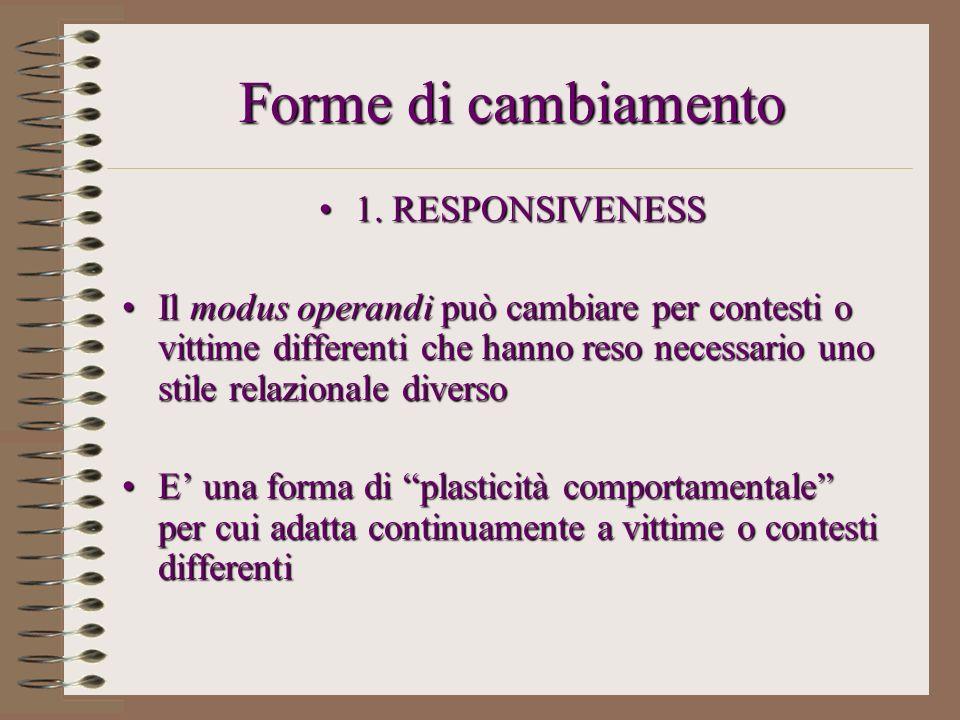 Forme di cambiamento 1. RESPONSIVENESS1. RESPONSIVENESS Il modus operandi può cambiare per contesti o vittime differenti che hanno reso necessario uno