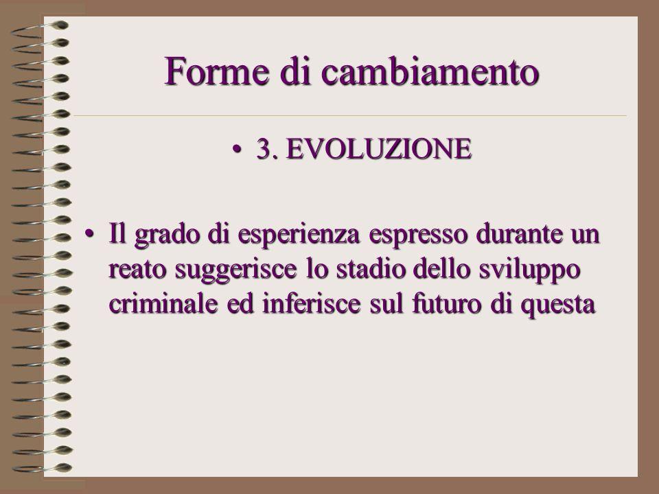 Forme di cambiamento 3. EVOLUZIONE3. EVOLUZIONE Il grado di esperienza espresso durante un reato suggerisce lo stadio dello sviluppo criminale ed infe