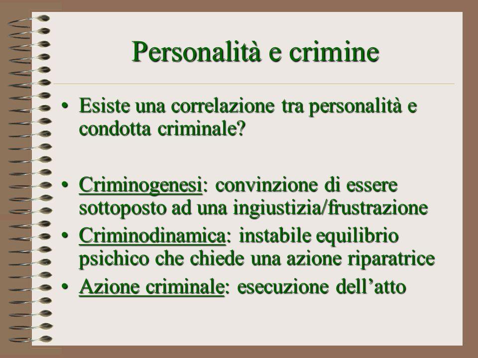 Personalità e crimine Esiste una correlazione tra personalità e condotta criminale?Esiste una correlazione tra personalità e condotta criminale? Crimi