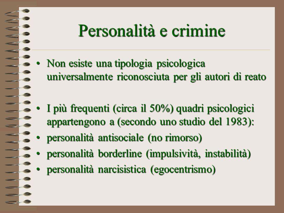 Personalità e crimine Non esiste una tipologia psicologica universalmente riconosciuta per gli autori di reatoNon esiste una tipologia psicologica uni