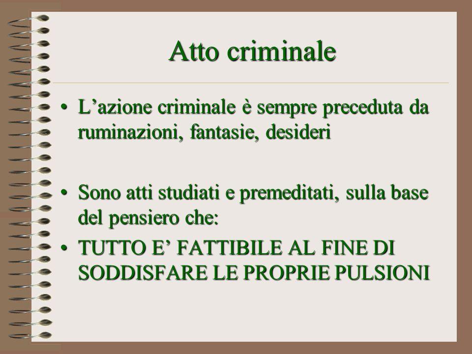 Atto criminale Lazione criminale è sempre preceduta da ruminazioni, fantasie, desideriLazione criminale è sempre preceduta da ruminazioni, fantasie, d