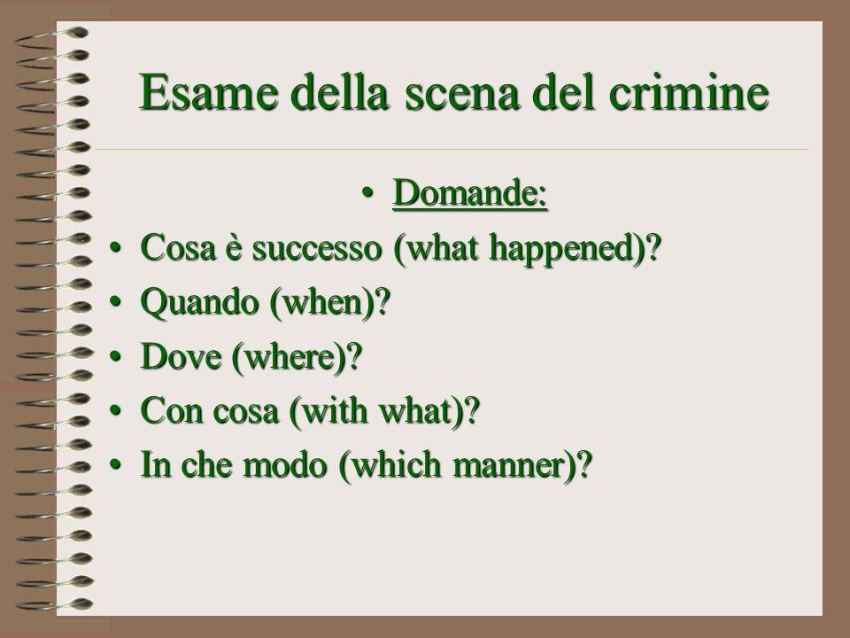 Esame della scena del crimine Domande:Domande: Cosa è successo (what happened)?Cosa è successo (what happened)? Quando (when)?Quando (when)? Dove (whe