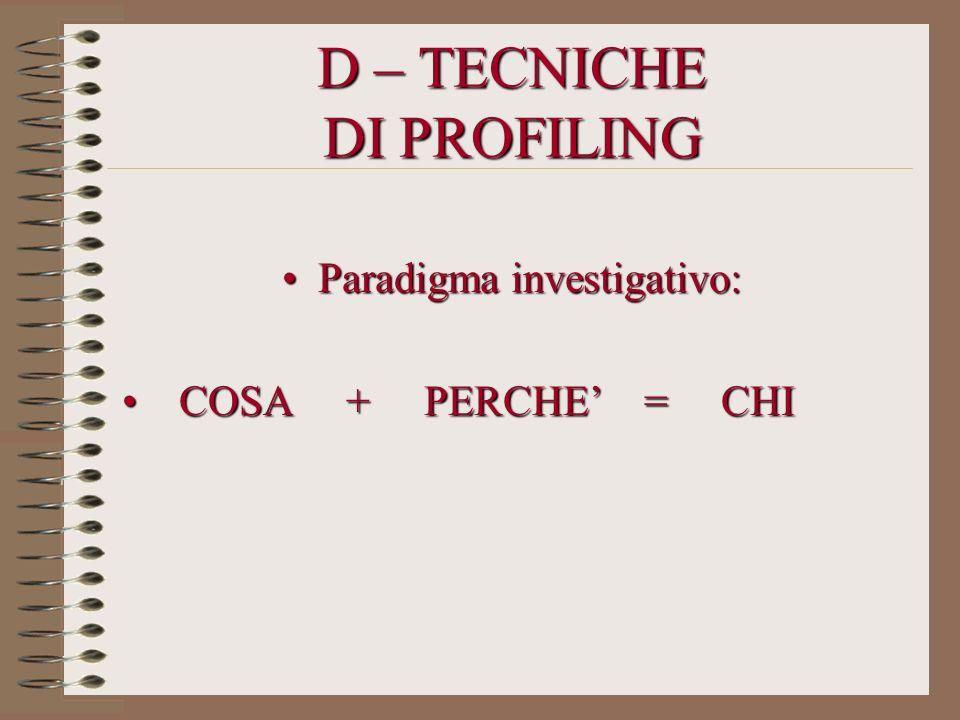 D – TECNICHE DI PROFILING Paradigma investigativo:Paradigma investigativo: COSA + PERCHE = CHI COSA + PERCHE = CHI