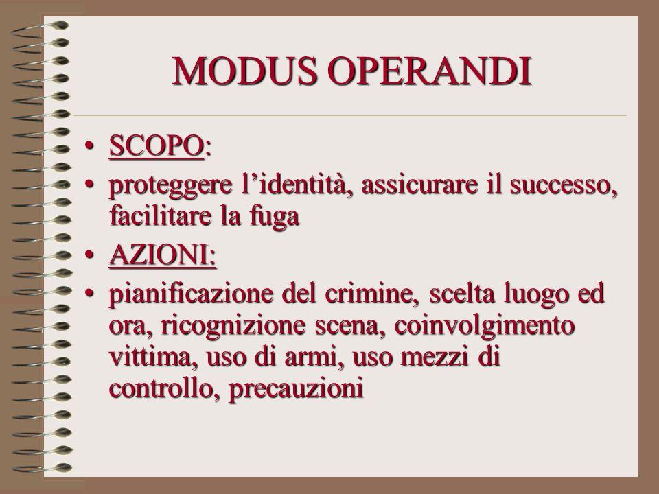 MODUS OPERANDI SCOPO:SCOPO: proteggere lidentità, assicurare il successo, facilitare la fugaproteggere lidentità, assicurare il successo, facilitare l