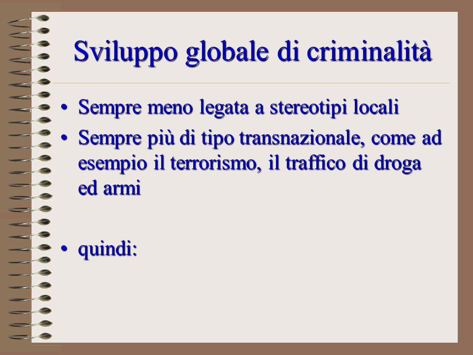 Sviluppo globale di criminalità Sempre meno legata a stereotipi localiSempre meno legata a stereotipi locali Sempre più di tipo transnazionale, come a
