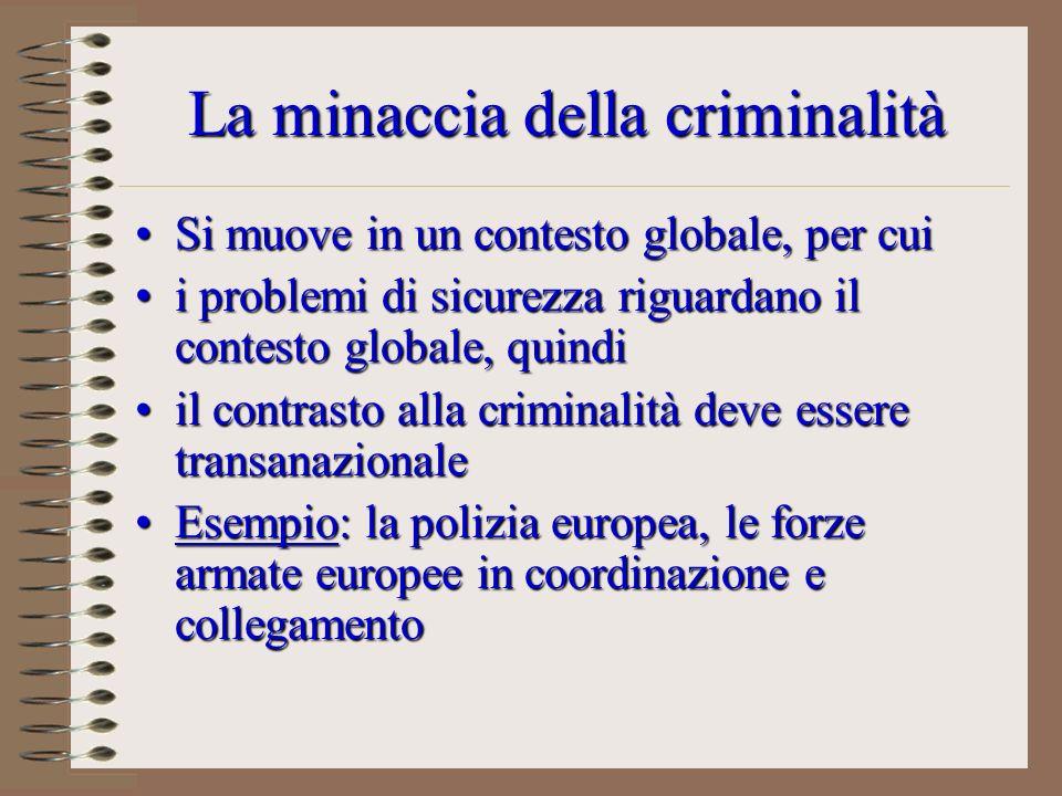 La minaccia della criminalità Si muove in un contesto globale, per cuiSi muove in un contesto globale, per cui i problemi di sicurezza riguardano il c
