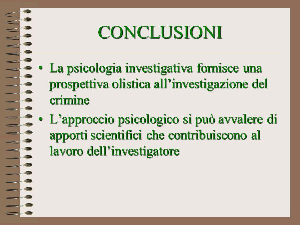 CONCLUSIONI La psicologia investigativa fornisce una prospettiva olistica allinvestigazione del crimineLa psicologia investigativa fornisce una prospe