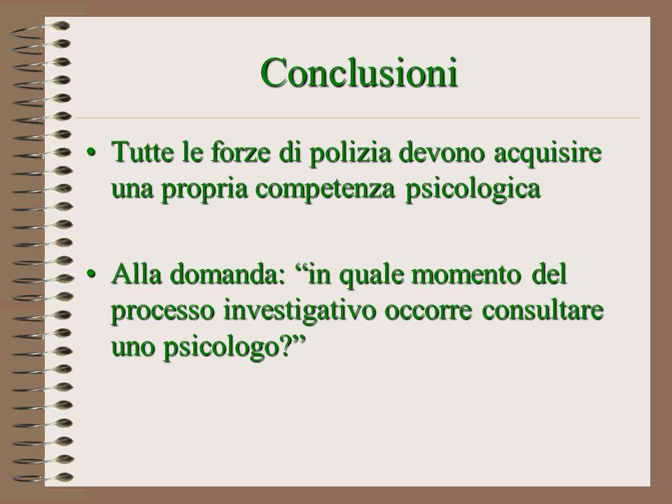 Conclusioni Tutte le forze di polizia devono acquisire una propria competenza psicologicaTutte le forze di polizia devono acquisire una propria compet