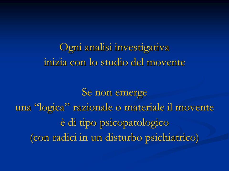 Ogni analisi investigativa inizia con lo studio del movente Se non emerge una logica razionale o materiale il movente è di tipo psicopatologico (con r