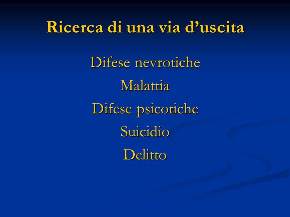 Difese nevrotiche Malattia Difese psicotiche SuicidioDelitto