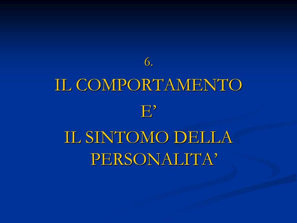 6. IL COMPORTAMENTO E IL SINTOMO DELLA PERSONALITA