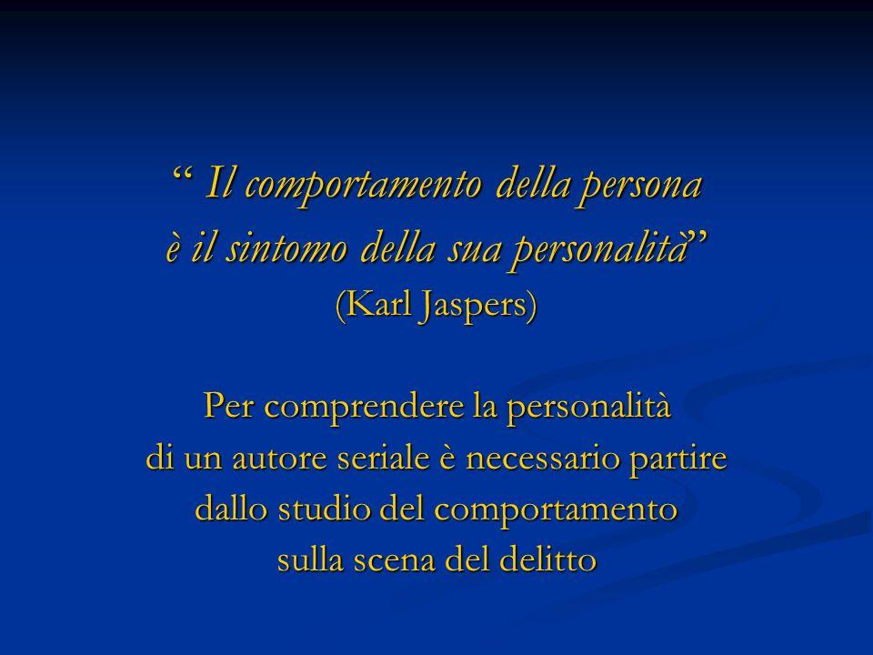 Il comportamento della persona Il comportamento della persona è il sintomo della sua personalità (Karl Jaspers) Per comprendere la personalità di un a