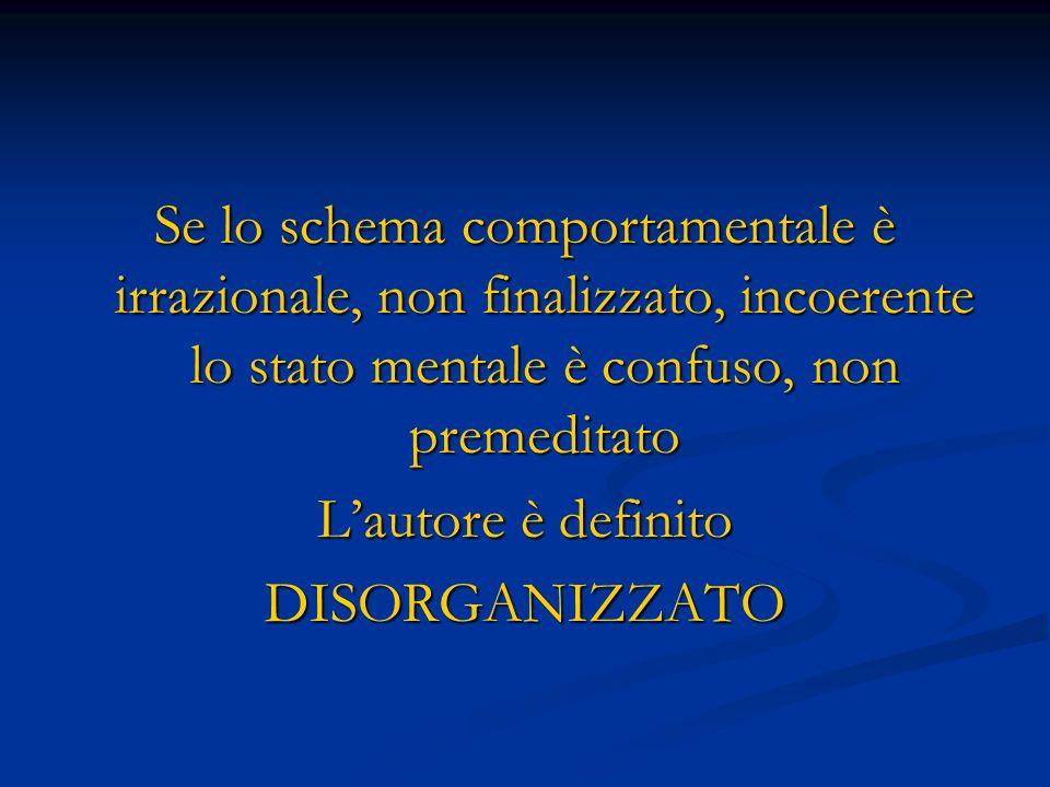 Se lo schema comportamentale è irrazionale, non finalizzato, incoerente lo stato mentale è confuso, non premeditato Lautore è definito DISORGANIZZATO