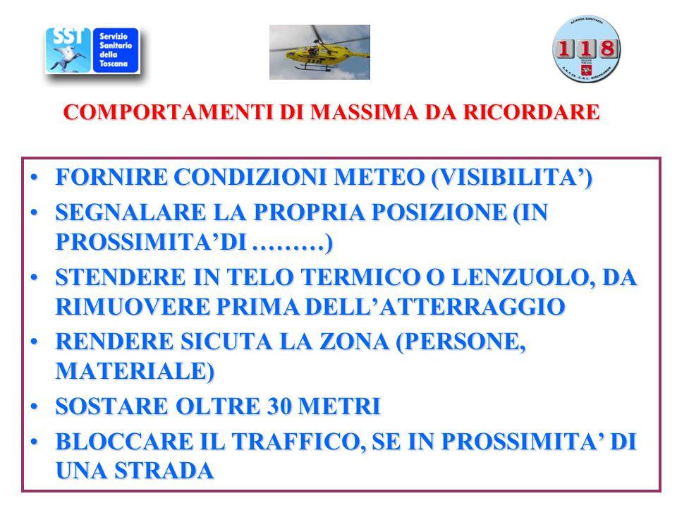 COMPORTAMENTI DI MASSIMA DA RICORDARE FORNIRE CONDIZIONI METEO (VISIBILITA)FORNIRE CONDIZIONI METEO (VISIBILITA) SEGNALARE LA PROPRIA POSIZIONE (IN PR