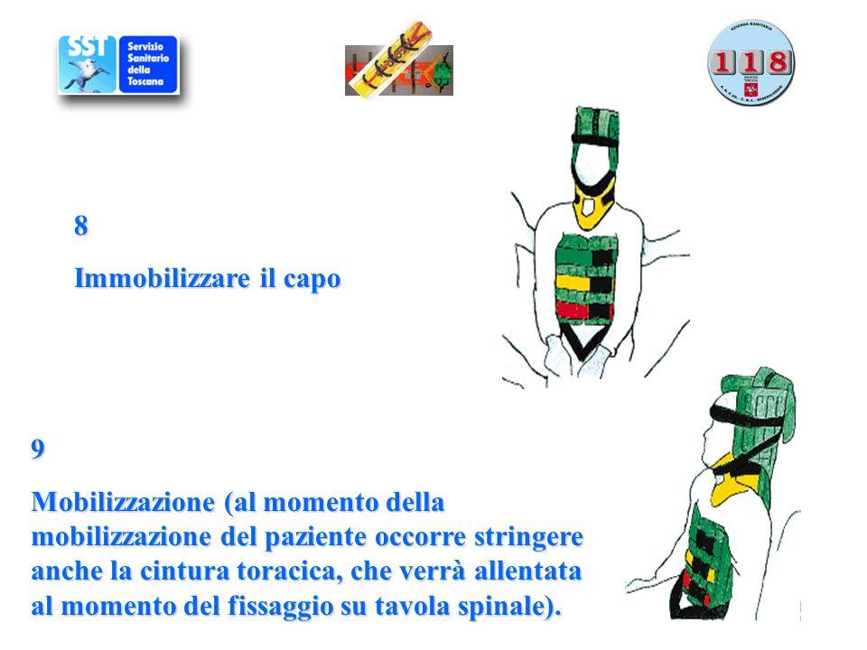 9 Mobilizzazione (al momento della mobilizzazione del paziente occorre stringere anche la cintura toracica, che verrà allentata al momento del fissagg