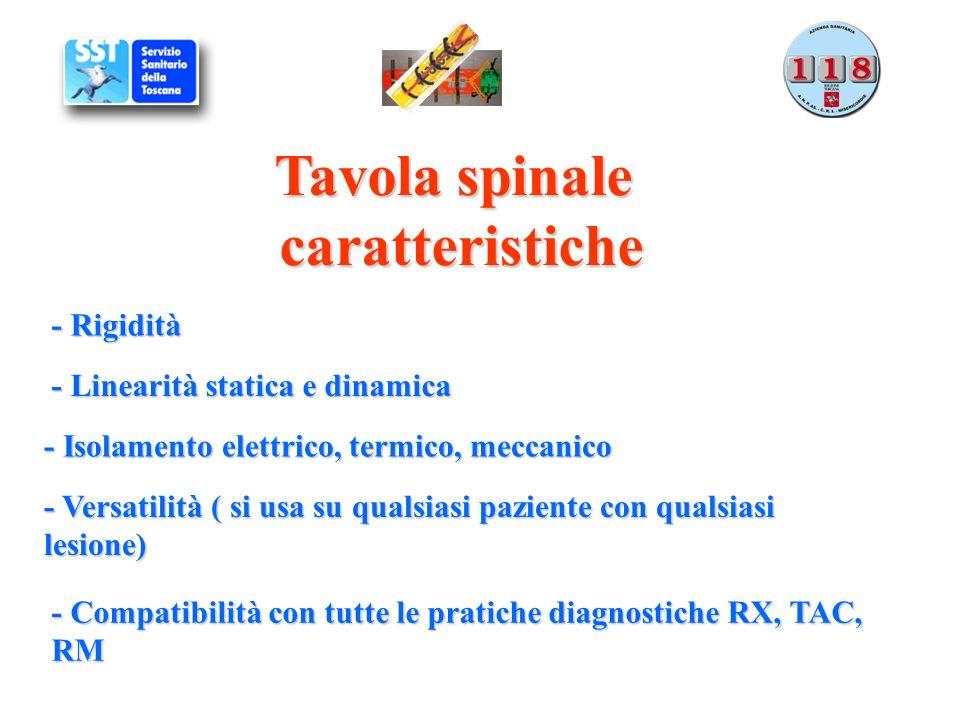 Tavola spinale caratteristiche - Rigidità - Linearità statica e dinamica - Isolamento elettrico, termico, meccanico - Versatilità ( si usa su qualsias