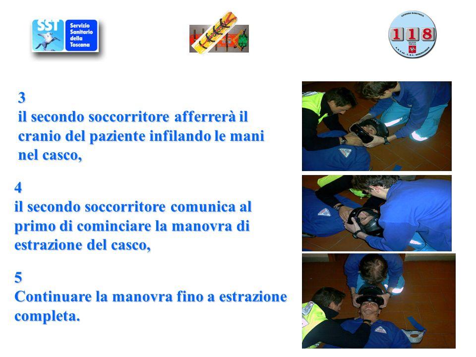 3 il secondo soccorritore afferrerà il cranio del paziente infilando le mani nel casco, 4 il secondo soccorritore comunica al primo di cominciare la m
