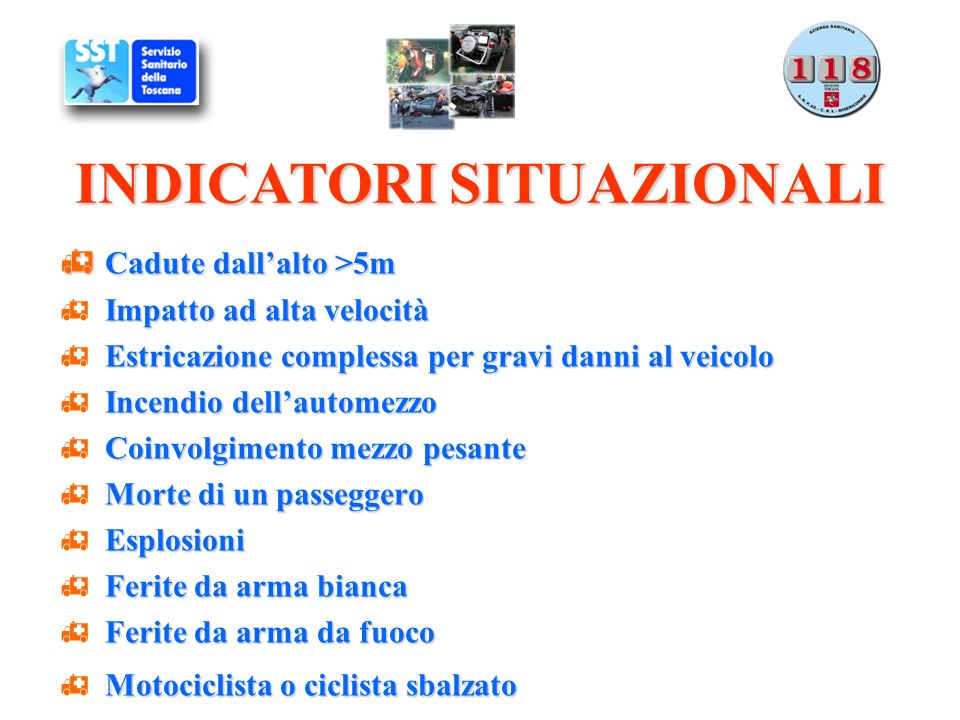 Indicatori situazionali Indicatori clinici DINAMICA DEL TRAUMA