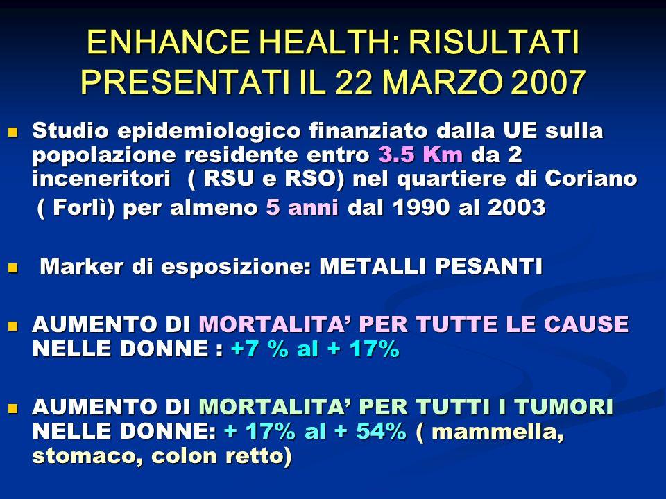 ENHANCE HEALTH: RISULTATI PRESENTATI IL 22 MARZO 2007 Studio epidemiologico finanziato dalla UE sulla popolazione residente entro 3.5 Km da 2 inceneri