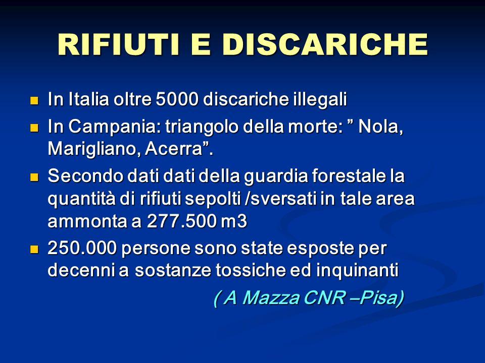RIFIUTI E DISCARICHE In Italia oltre 5000 discariche illegali In Italia oltre 5000 discariche illegali In Campania: triangolo della morte: Nola, Marig