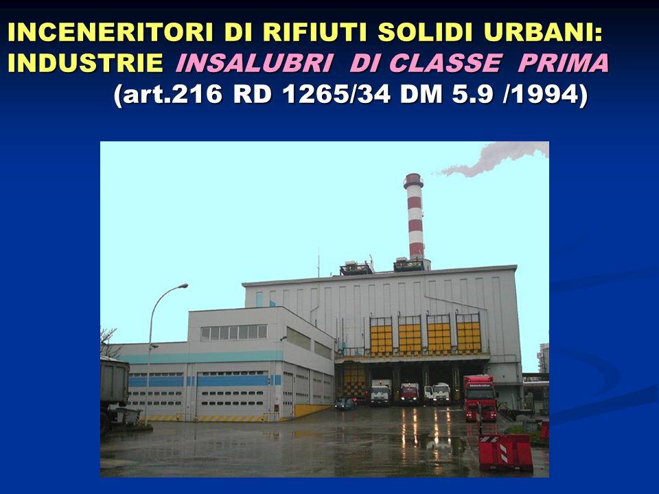 INCENERITORI DI RIFIUTI SOLIDI URBANI: INDUSTRIE INSALUBRI DI CLASSE PRIMA (art.216 RD 1265/34 DM 5.9 /1994) (art.216 RD 1265/34 DM 5.9 /1994)