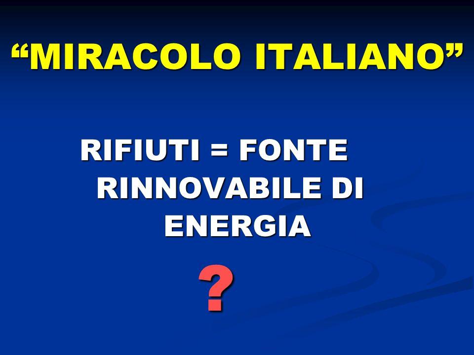 MIRACOLO ITALIANO RIFIUTI = FONTE RIFIUTI = FONTE RINNOVABILE DI RINNOVABILE DI ENERGIA ENERGIA ?