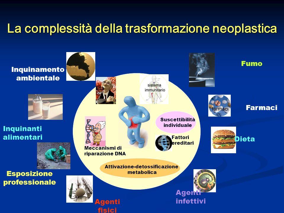 La complessità della trasformazione neoplastica Età Meccanismi di riparazione DNA Attivazione-detossificazione metabolica Fattori ereditari Suscettibi