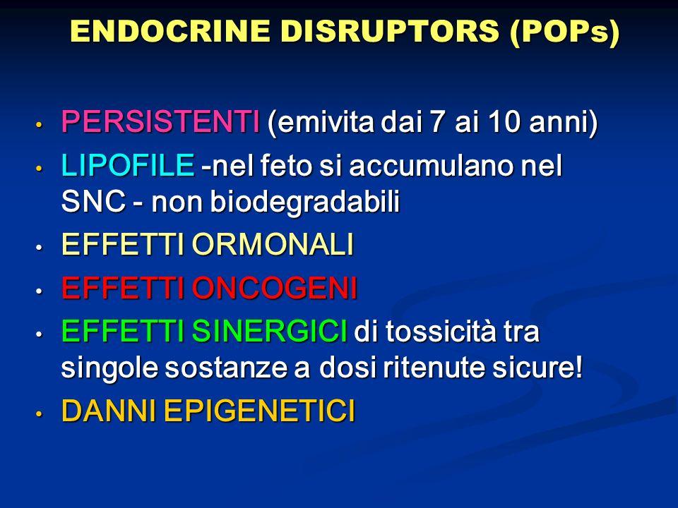 ENDOCRINE DISRUPTORS (POPs) PERSISTENTI (emivita dai 7 ai 10 anni) PERSISTENTI (emivita dai 7 ai 10 anni) LIPOFILE -nel feto si accumulano nel SNC - n