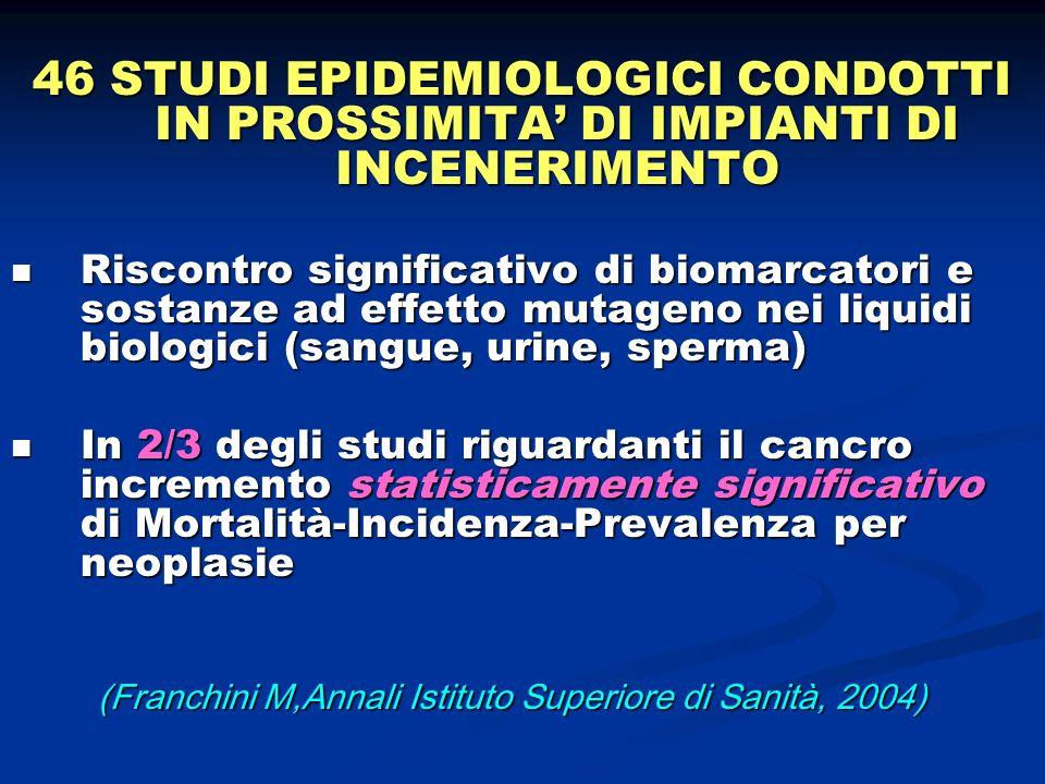 46 STUDI EPIDEMIOLOGICI CONDOTTI IN PROSSIMITA DI IMPIANTI DI INCENERIMENTO Riscontro significativo di biomarcatori e sostanze ad effetto mutageno nei