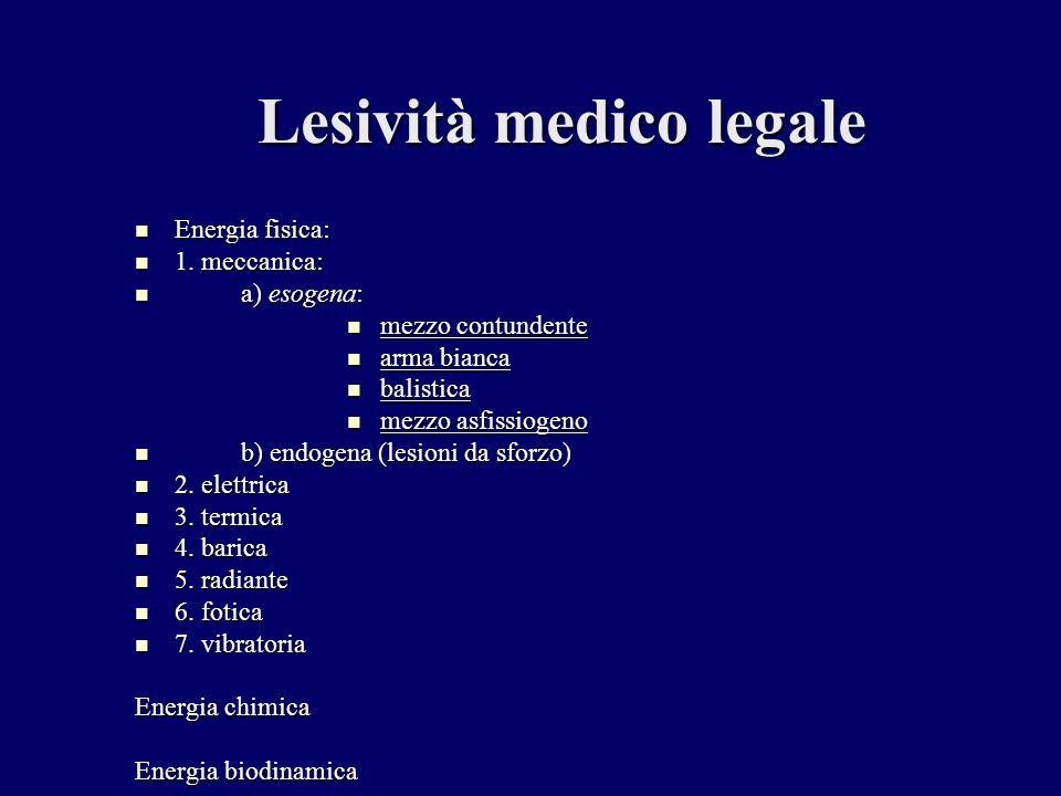 Lesività medico legale Energia fisica: 1. meccanica: a) esogena: m mezzo contundente a arma bianca b balistica m mezzo asfissiogeno b) endogena (lesio