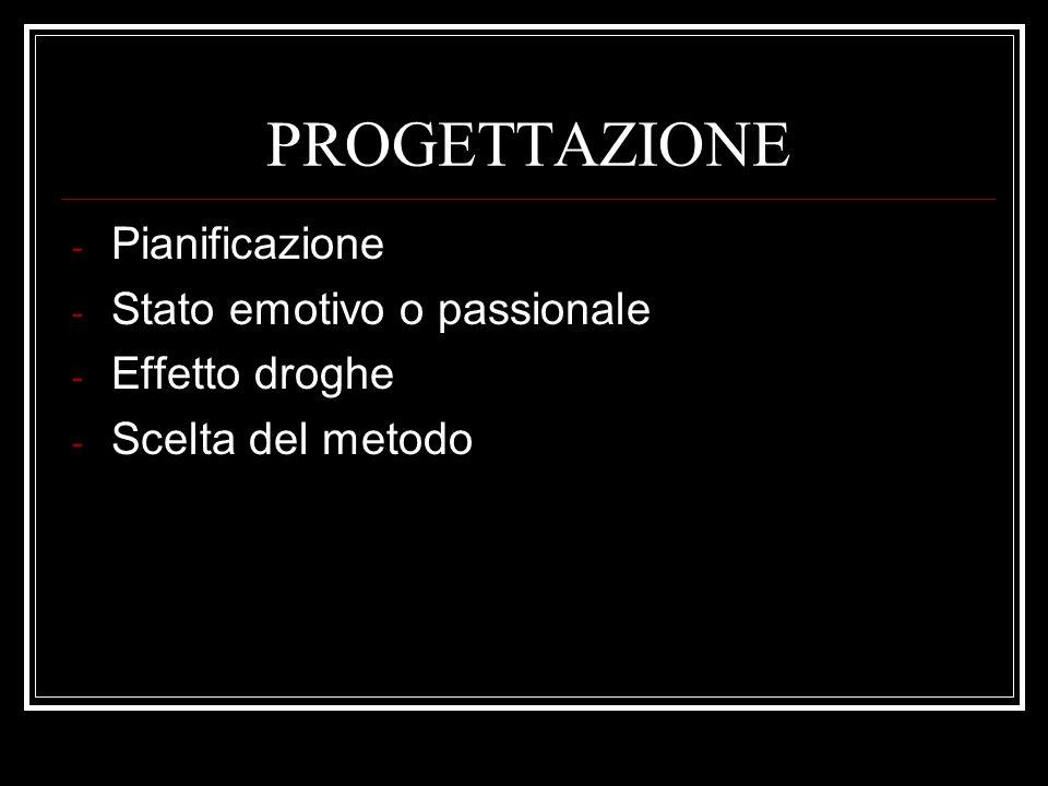 PROGETTAZIONE - Pianificazione - Stato emotivo o passionale - Effetto droghe - Scelta del metodo