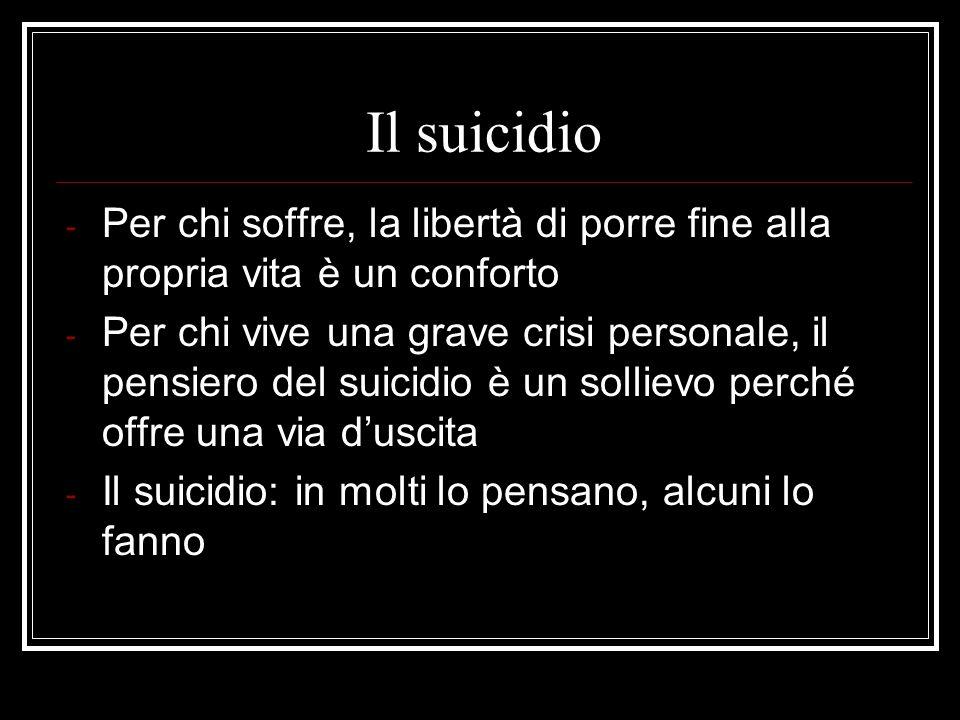 Il suicidio La messa in atto del pensiero suicida dipende da: - INTENSITA DELLINTENZIONE SUICIDA - TEMPO DI PERMANENZA DELLINTEN- ZIONE NELLA MENTE DELLA VITTIMA