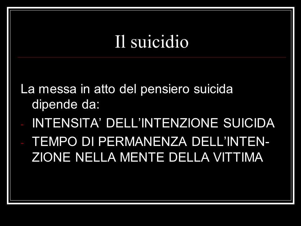 Il suicidio La messa in atto del pensiero suicida dipende da: - INTENSITA DELLINTENZIONE SUICIDA - TEMPO DI PERMANENZA DELLINTEN- ZIONE NELLA MENTE DE