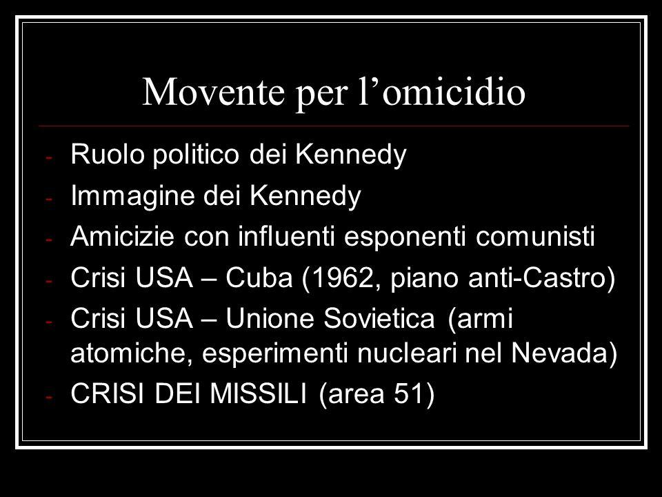 Movente per lomicidio - Ruolo politico dei Kennedy - Immagine dei Kennedy - Amicizie con influenti esponenti comunisti - Crisi USA – Cuba (1962, piano