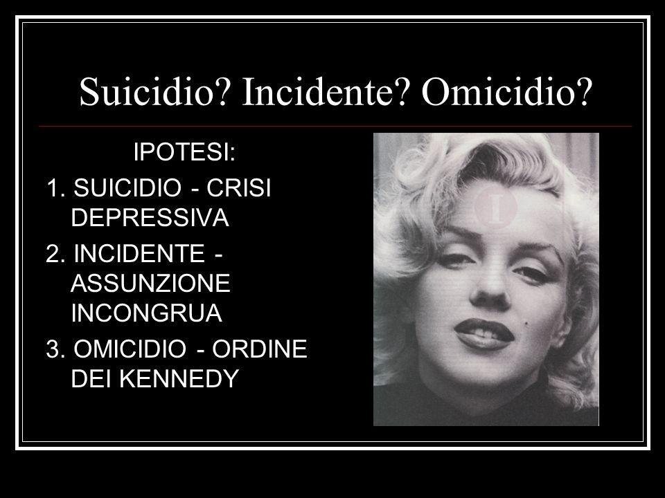 Suicidio? Incidente? Omicidio? IPOTESI: 1. SUICIDIO - CRISI DEPRESSIVA 2. INCIDENTE - ASSUNZIONE INCONGRUA 3. OMICIDIO - ORDINE DEI KENNEDY
