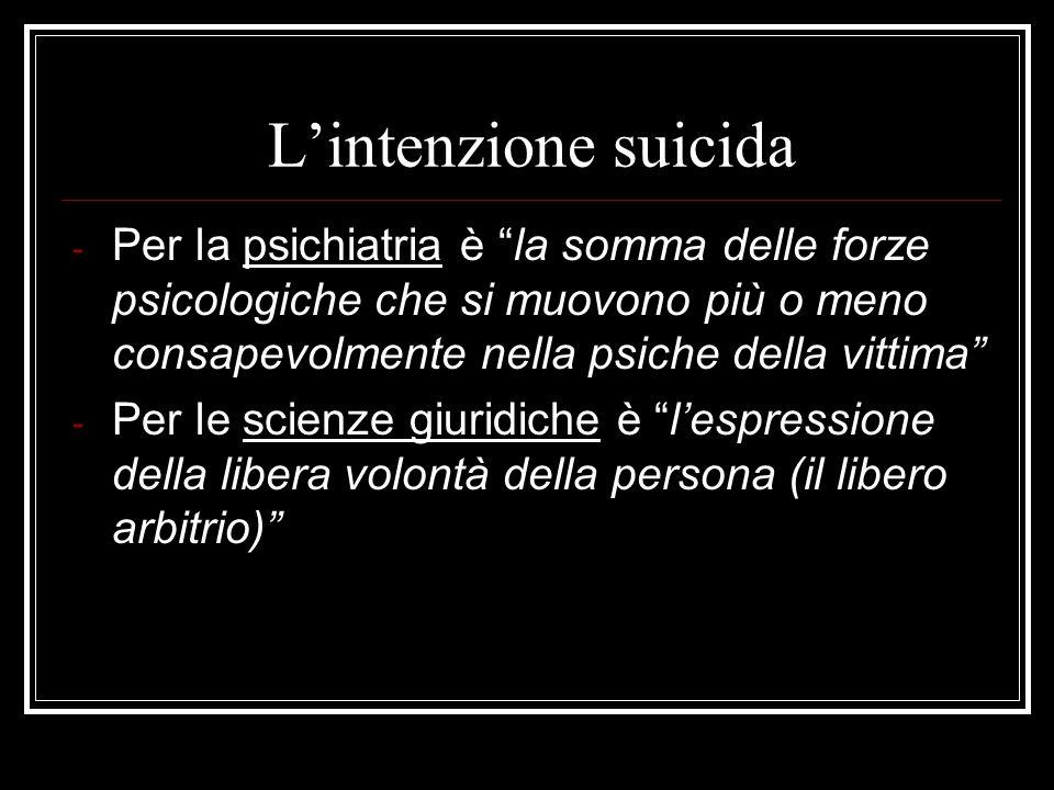 Lintenzione suicida - Per la psichiatria è la somma delle forze psicologiche che si muovono più o meno consapevolmente nella psiche della vittima - Pe