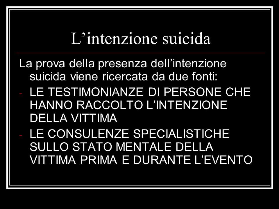 Lintenzione suicida La prova della presenza dellintenzione suicida viene ricercata da due fonti: - LE TESTIMONIANZE DI PERSONE CHE HANNO RACCOLTO LINT