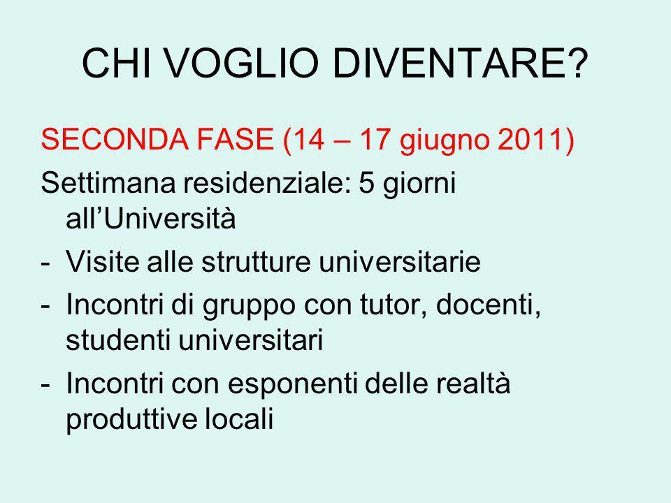 CHI VOGLIO DIVENTARE? SECONDA FASE (14 – 17 giugno 2011) Settimana residenziale: 5 giorni allUniversità -Visite alle strutture universitarie -Incontri