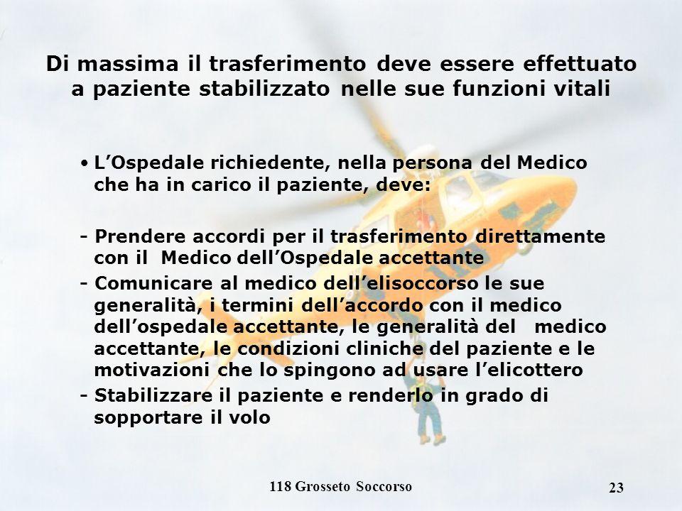 118 Grosseto Soccorso 22 TRASPORTO SECONDARIO: INDICAZIONI Con intervento secondario si intende il trasferimento di un paziente da un presidio ospedal