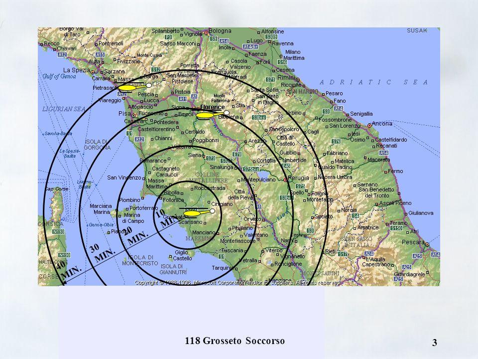 118 Grosseto Soccorso 2 PEGASO 1 FIRENZE (centro) PEGASO 2 GROSSETO (sud, arcipelago toscano - notte) PEGASO 3 MASSA CARRARA (nord) Copertura regional
