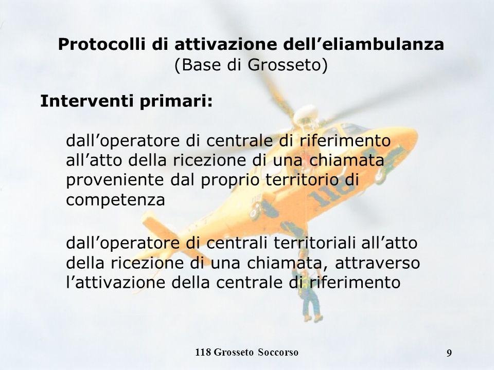 8 Lelicottero di Grosseto Soccorso ha come compiti istituzionali: Soccorso primario di pazienti critici Trasporto secondario di pazienti critici Inter
