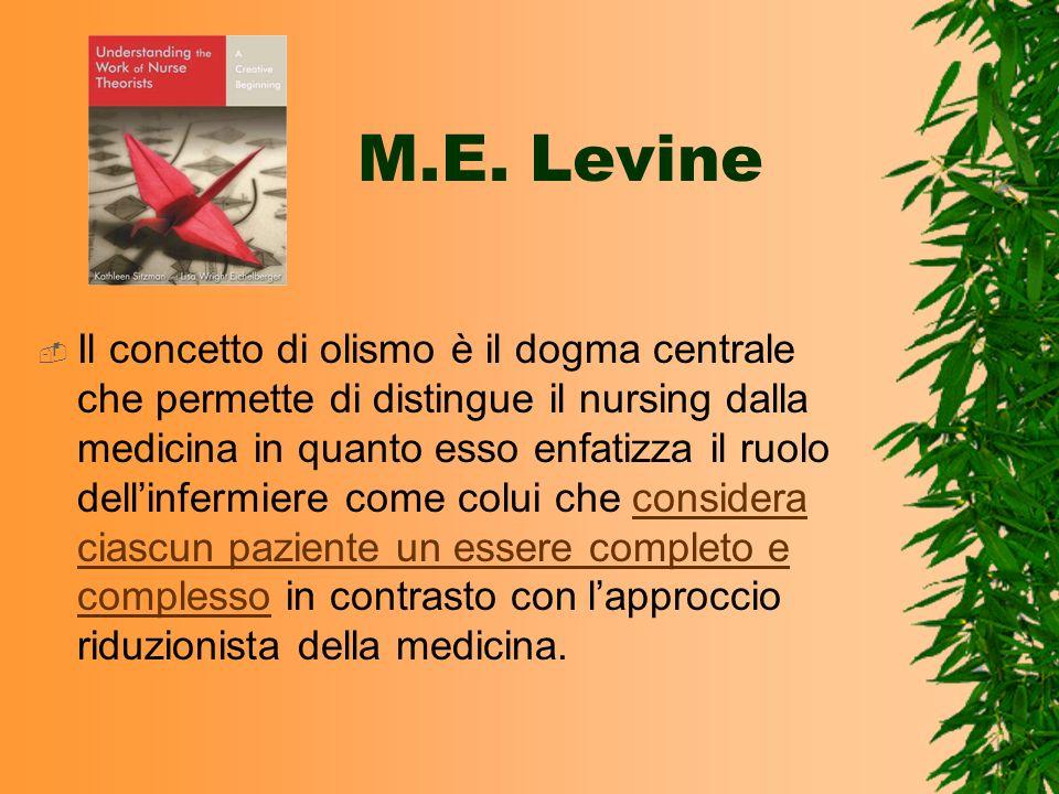 M.E. Levine Il concetto di olismo è il dogma centrale che permette di distingue il nursing dalla medicina in quanto esso enfatizza il ruolo dellinferm