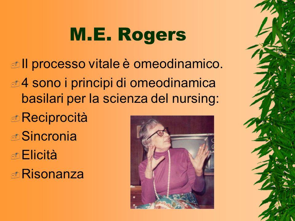 M.E. Rogers Il processo vitale è omeodinamico. 4 sono i principi di omeodinamica basilari per la scienza del nursing: Reciprocità Sincronia Elicità Ri