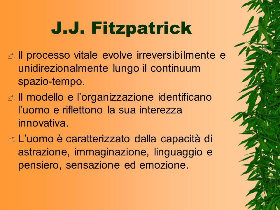 J.J. Fitzpatrick Il processo vitale evolve irreversibilmente e unidirezionalmente lungo il continuum spazio-tempo. Il modello e lorganizzazione identi