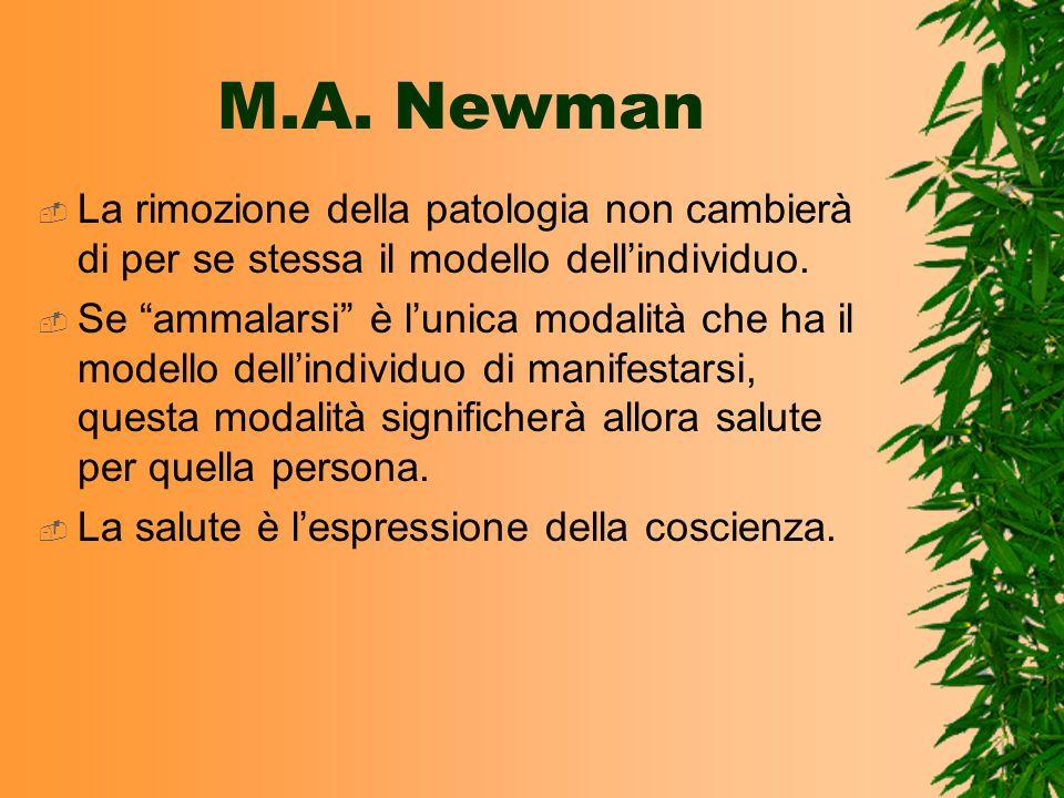 M.A. Newman La rimozione della patologia non cambierà di per se stessa il modello dellindividuo. Se ammalarsi è lunica modalità che ha il modello dell