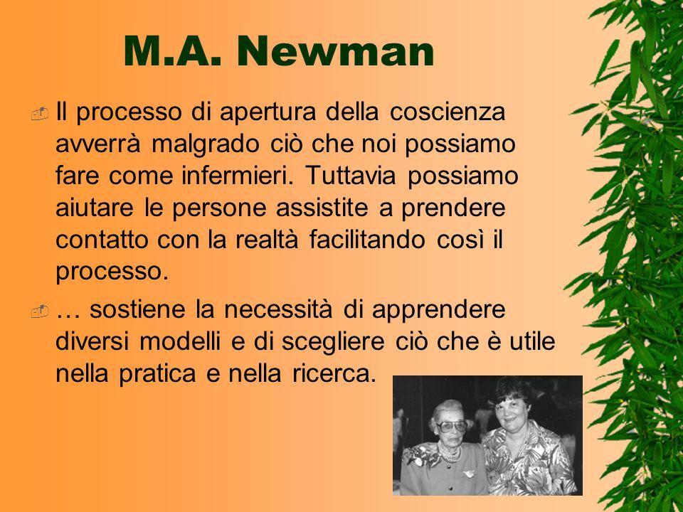 M.A. Newman Il processo di apertura della coscienza avverrà malgrado ciò che noi possiamo fare come infermieri. Tuttavia possiamo aiutare le persone a