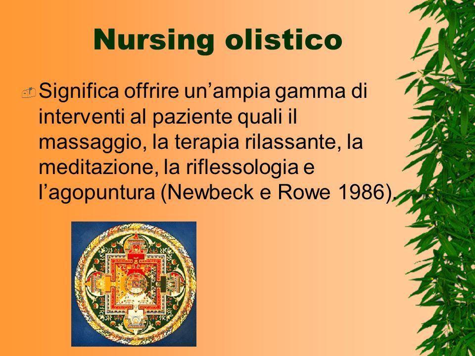 Nursing olistico Significa offrire unampia gamma di interventi al paziente quali il massaggio, la terapia rilassante, la meditazione, la riflessologia